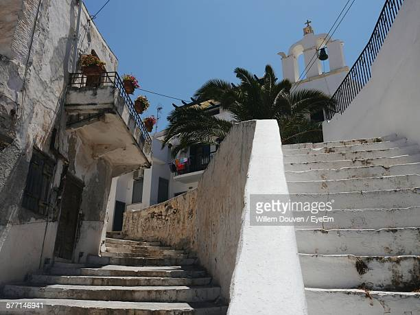 low-angle view of bell tower in old town - naxos stockfoto's en -beelden