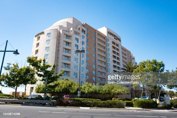 Lowangle view of Courtyard Marriott hotel in Emeryville California a popular option for travelers to San Francisco September 18 2018