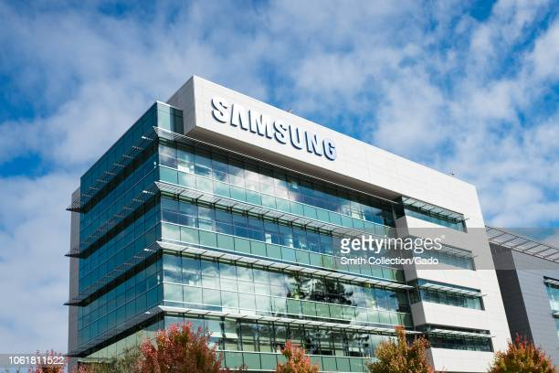 Lowangle view of facade of regional headquarters of technology company Samsung with sign and logo visible in the Silicon Valley town of Mountain View...
