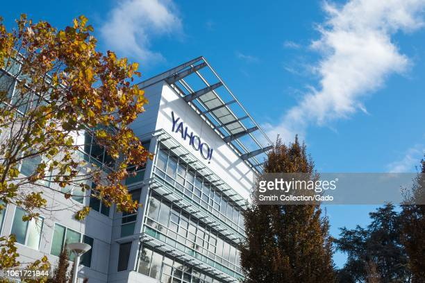 Low-angle view of facade with logo at regional headquarters of Internet company Yahoo in the Silicon Valley town of Sunnyvale, California, on a sunny...