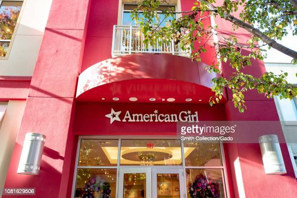Low-angle view of facade with logo at the American Girl store at the Stanford Shopping Center in the Silicon Valley town of Palo Alto, California,...