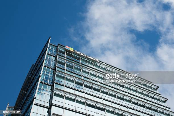 Lowangle view of logo on facade at the regional headquarters of Microsoft in the Silicon Valley town of Sunnyvale California October 28 2018