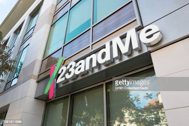 Lowangle view of logo on facade of personal genomics company 23AndMe in the Silicon Valley town of Mountain View California October 28 2018