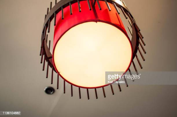 Low-angle view of modern chandelier