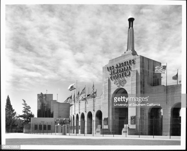 A lowangle view of the entrance of the Los Angeles Memorial Coliseum Los Angeles California early to mid twentieth century