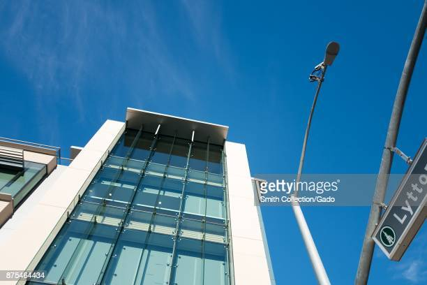 Low-angle view of the headquarters of technology company SurveyMonkey, on Lytton Street in the Silicon Valley, Palo Alto, California, November 14,...