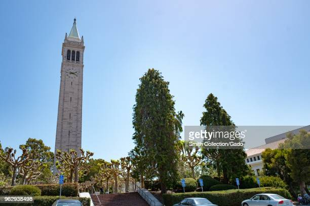 Low-angle view of the iconic Sather Tower, aka the Campanile, on a sunny day on the main campus of UC Berkeley in downtown Berkeley, California, May...