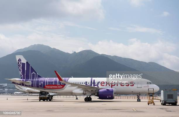 Lowcost airline HK Express Airbus A320200 plane is seen at Hong Kong international airport runway