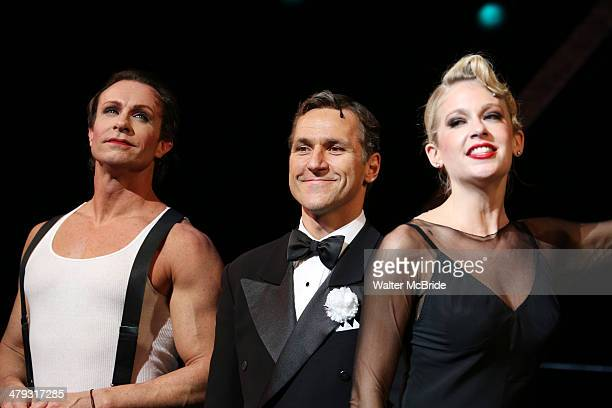 Lowe, Elvis Stojko and Anne Horak at curtain call during Elvis Stojko's debut performance on Broadway's 'Chicago' at Ambassador Theatre on March 17,...