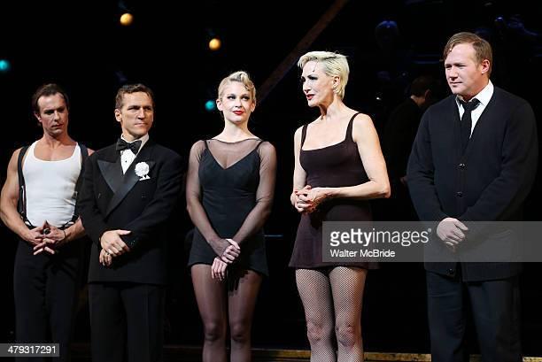 Lowe, Elvis Stojko, Anne Horak, Amra-Faye Wright and Jason Patrick Sands at curtain call during Elvis Stojko's debut performance on Broadway's...