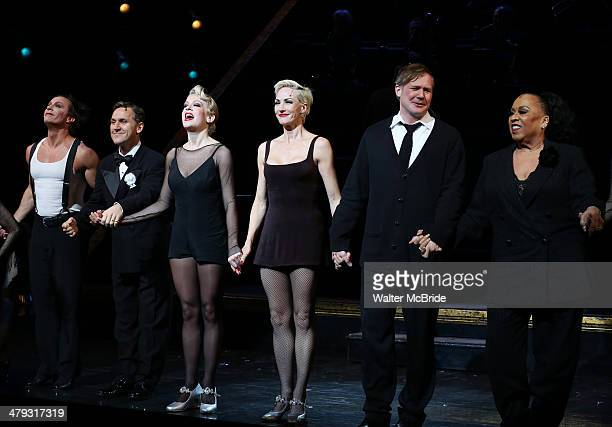 Lowe, Elvis Stojko, Anne Horak, Amra-Faye Wright, Jason Patrick Sands and Roz Ryan at curtain call during Elvis Stojko's debut performance on...