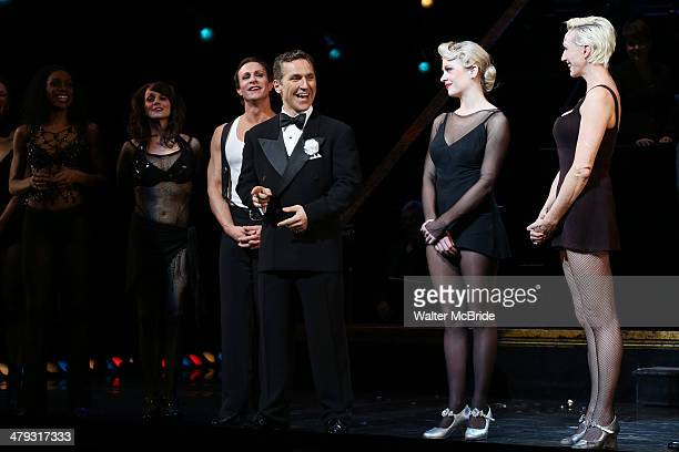 Lowe, Elvis Stojko, Anne Horak and Amra-Faye Wright at curtain call during Elvis Stojko's debut performance on Broadway's 'Chicago' at Ambassador...