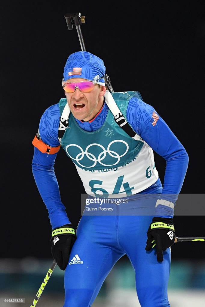 Lowell Bailey of the United States reacts after competing during the Men's 10km Sprint Biathlon on day two of the PyeongChang 2018 Winter Olympic Games at Alpensia Biathlon Centre on February 11, 2018 in Pyeongchang-gun, South Korea.