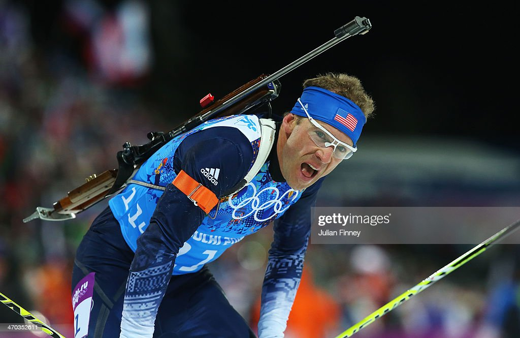 Lowell Bailey of the United States reacts after competing in the 2 x 6 km Women + 2 x 7 km Men Mixed Relay during day 12 of the Sochi 2014 Winter Olympics at Laura Cross-country Ski & Biathlon Center on February 19, 2014 in Sochi, Russia.