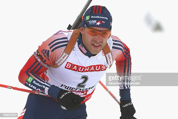 Lowell Bailey of the US competes in the men's 10 km sprint of the IBU Biathlon World Cup on December 7, 2007 in Hochfilzen, Austria.