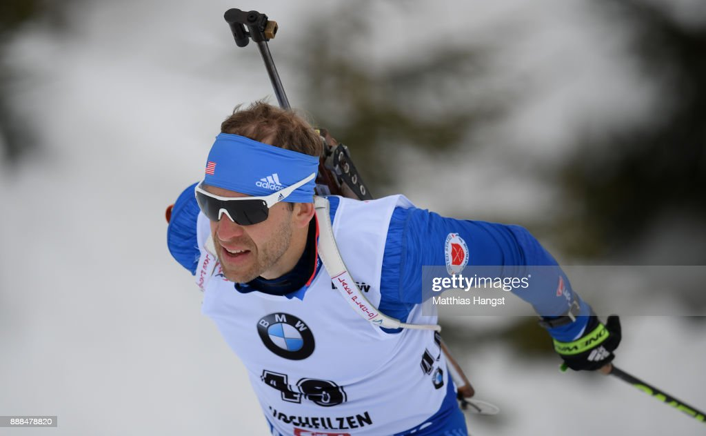 Lowell Bailey of the USA competes in the 10 km Men's Sprint during the BMW IBU World Cup Biathlon on December 8, 2017 in Hochfilzen, Austria.