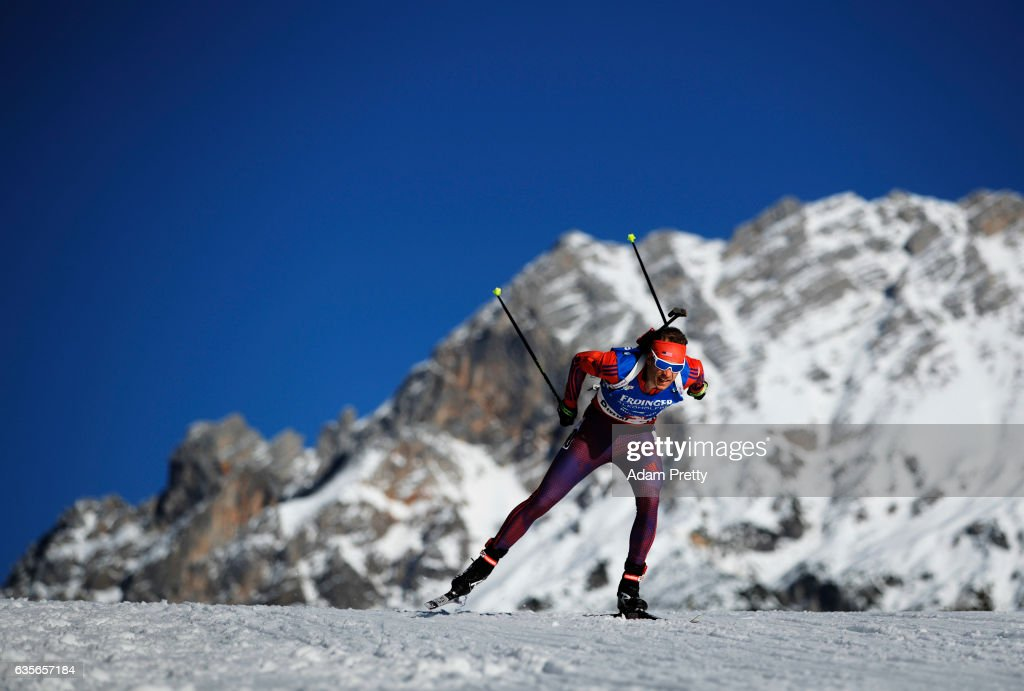 Lowell Bailey of the USA on his way to winning the Gold medal in the Men's 20km Individual competition of the IBU World Championships Biathlon 2017 at the Biathlon Stadium Hochfilzen onon February 16, 2017 in Hochfilzen, Austria.