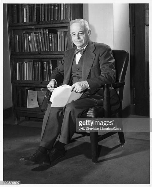 Lowell Jacob Reed Portrait photograph Sitting Full length Threequarter view c 64 years of age 1949