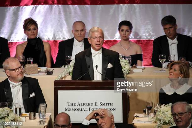 Lowell McAdam former CEO of Verizon speaks at the annual Alfred E Smith Memorial Foundation dinner October 18 2018 in New York City The annual...