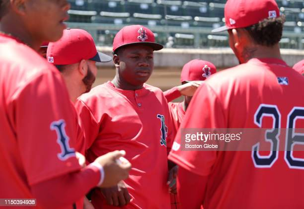 Lowell Spinners player Gilberto Jimenez attends his team's Media Day in Lowell MA on June 12 2019