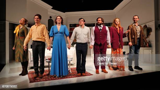 Lowenna Melrose Tom Rosenthal Charlotte Ritchie Simon Bird Matt Berry Lily Cole and John Seaward bow at the curtain call during the press night...