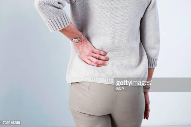 lower back pain in elderly person - 下背部痛 ストックフォトと画像