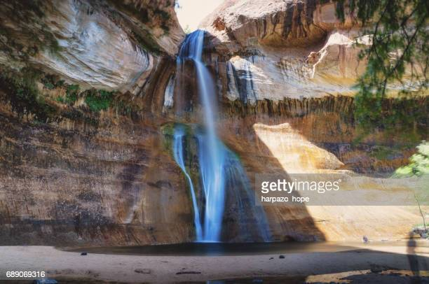 lower calf creek falls in escalante national monument - grand staircase escalante national monument stock pictures, royalty-free photos & images