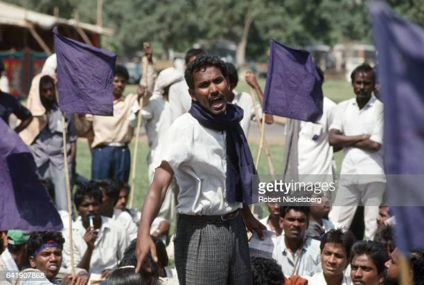 Lower caste Dalits from the state of Andhra Pradesh stage a protest for increased government quotas October 1 1991 in New Delhi India The Indian...
