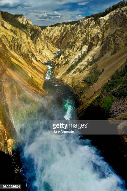 lower falls yellowstone - hank vermote stock pictures, royalty-free photos & images