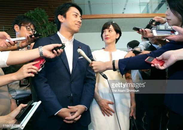 Lower House and Liberal Democratic Party member Shinjiro Koizumi and TV personality Christel Takigawa speaks to reporters at the Prime Minister's...