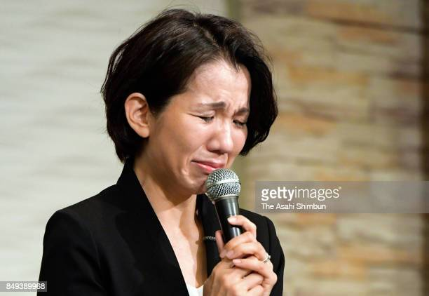Lower house lawmaker Mayuko Toyota attends a press conference after the meeting with her supporters t her constituency on September 18 2017 in Niiza...