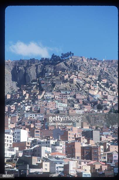 Lower income residents live on the hills June 15 1999 above La Paz Bolivia The population of Bolivia is composed of Native Americans mainly following...