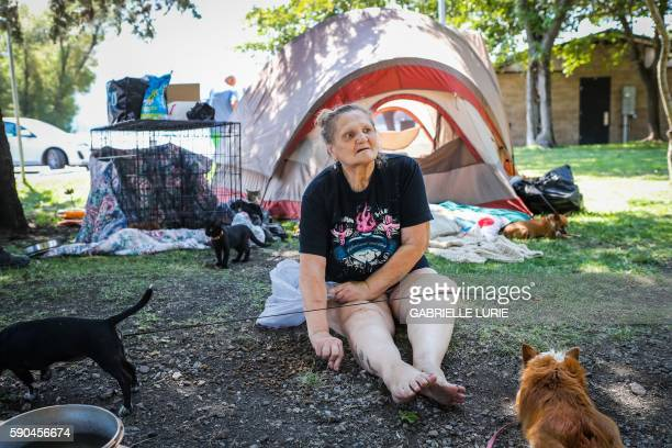 Lower Lake resident Linda Cifelli displaced from her home since August 14th sits outside the tent she's been living in with her dogs as she waits to...