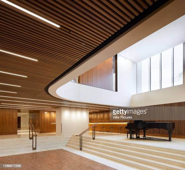 Lower lobby with bar and additional performance space. Royal Opera House, London, United Kingdom. Architect: Stanton Williams, 2018.