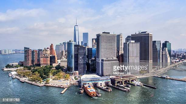 lower manhattan aerial view - staten island ferry stock pictures, royalty-free photos & images