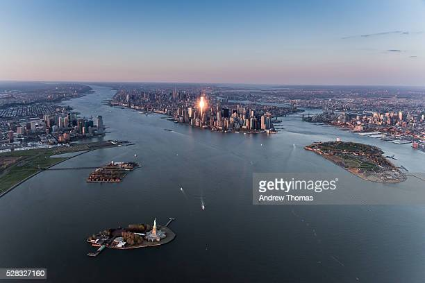 Lower Manhattan and statue of liberty