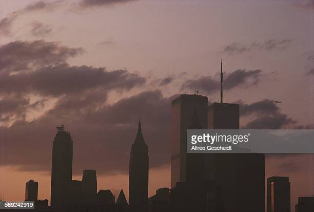 Lower Manhattan at dusk showing the twin towers of the World Trade Center New York City 1983