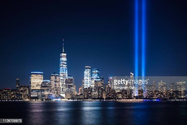 lower manhattan at night - memorial event stock pictures, royalty-free photos & images