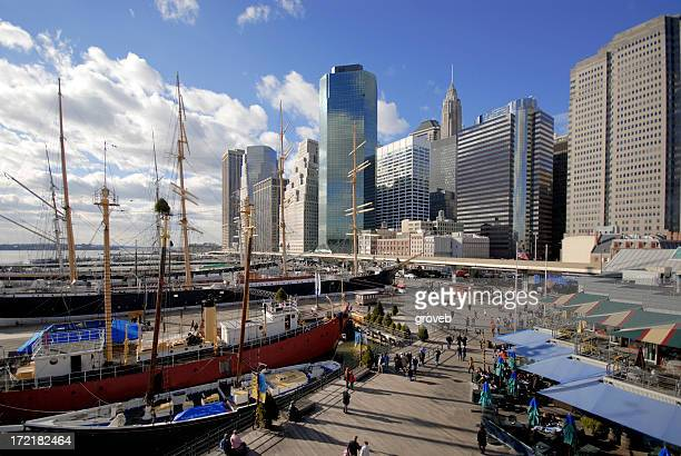 lower manhattan at south street seaport - south street seaport stock pictures, royalty-free photos & images