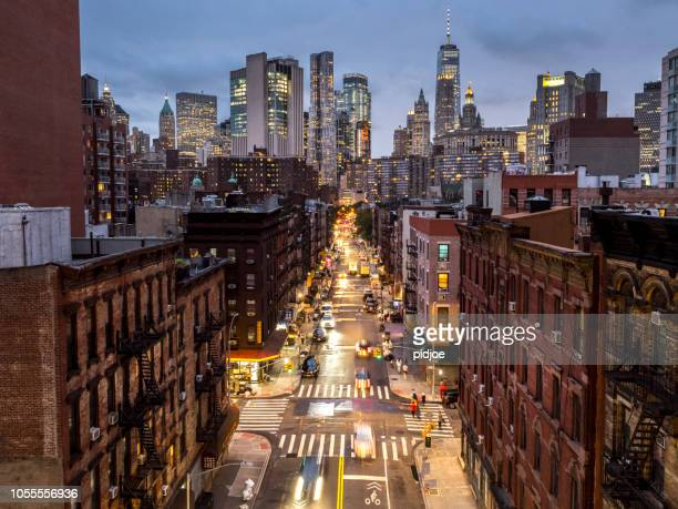 lower manhattan cityscape - chinatown, nyc, usa - lower east side manhattan stock pictures, royalty-free photos & images