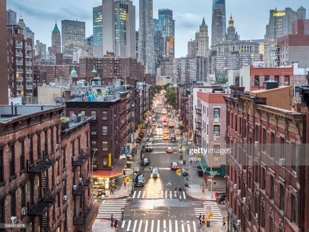 Lower Manhattan cityscape - Chinatown : Stock Photo