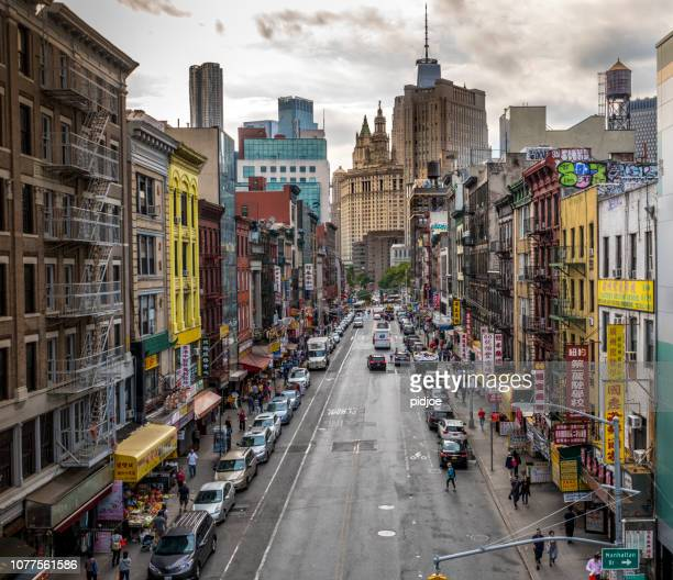 lower manhattan cityscape - chinatown - canal street manhattan stock pictures, royalty-free photos & images