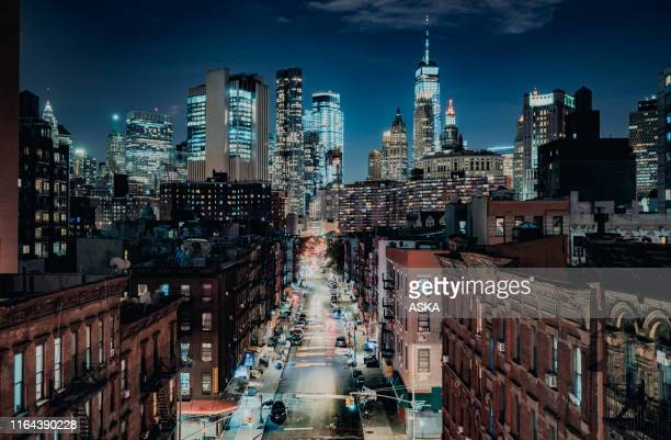 lower manhattan cityscape - chinatown - east stock pictures, royalty-free photos & images