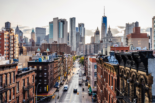 Lower Manhattan cityscape - Chinatown 908031820