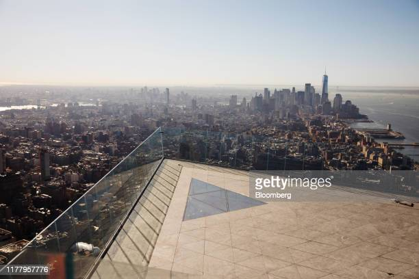 Lower Manhattan is seen from the Edge observation deck at 30 Hudson Yards during a media preview event in New York US on Thursday Oct 24 2019 Edge is...
