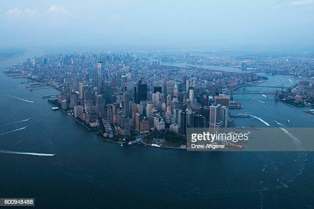 Lower Manhattan is viewed through the haze September 8 2016 in New York City New York City is preparing to mark the 15th anniversary of the September...
