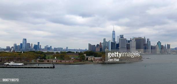 Lower Manhattan, New Jersey and Governors Island in the foreground in New York Harbor