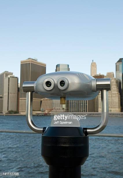 Lower Manhattan skyline and binoculars