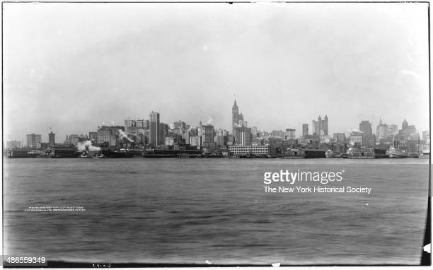 Lower Manhattan skyline and East River viewed from Brooklyn New York New York 1908