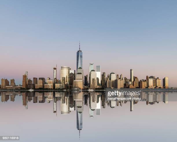 Lower Manhattan skyline at Sunset, View from New Jersey